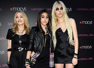 """Madonna, Lola Leon and Taylor Momsen attends the launch of """"Material Girl"""" at Macy's Herald Square on September 22, 2010 in New York City. """"Material Girl"""" Launch - Red Carpet Macy's Herald Square New York, NY United States September 22, 2010 Photo by Kevin Mazur/WireImage.com To license this image (61768753), contact WireImage.com"""